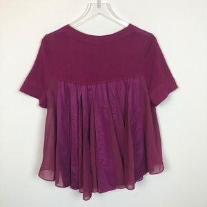 Anthropologie Backstory Pleated Swing Knit Top